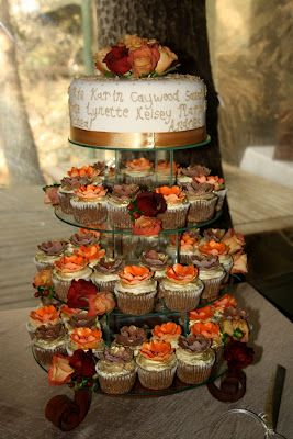 I Like The Idea Of Carrot Cake And Cream Cheese Frosting With These Fall Colors Choc N Cherry Cupcake Wedding Cakes