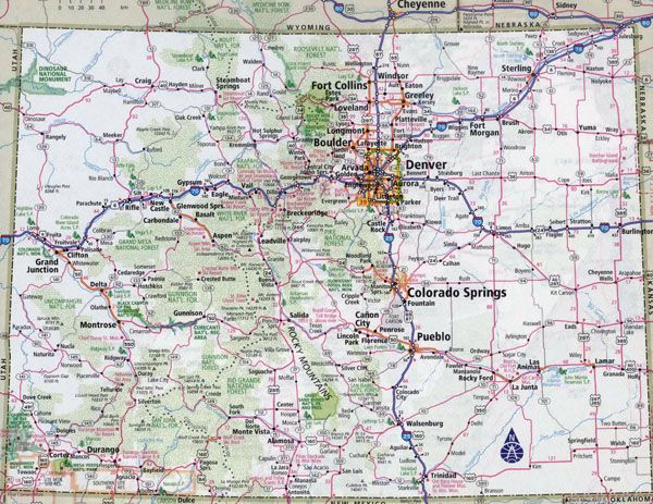 Large detailed roads and highways map of Colorado state with ...