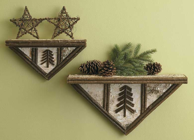 """Showcase your collections, family photos or unique accents on these rustic birch bark and twig triangle shelves. Set of two; small shelf measures 11-3/4""""L x 6""""H x 4""""D, large shelf measures 17-3/4""""L x 9-1/4""""H x 5""""D. Available on CampFitters.com under Cabin Decor > Accents > Decorative Items."""