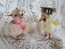 2 Vintage  Chenille Cotton Feather Chickens Chicks-Hats Springy neck-Easter