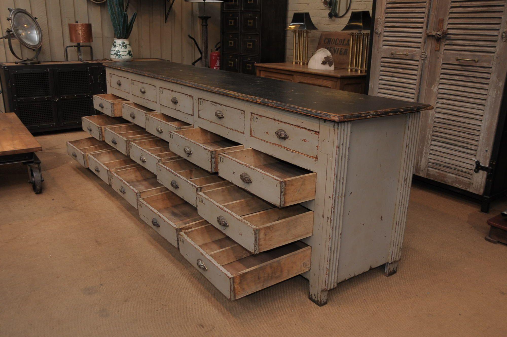 le grenier roubaix france stock meuble de m tier a tiroirs 1930 patine grise decor. Black Bedroom Furniture Sets. Home Design Ideas