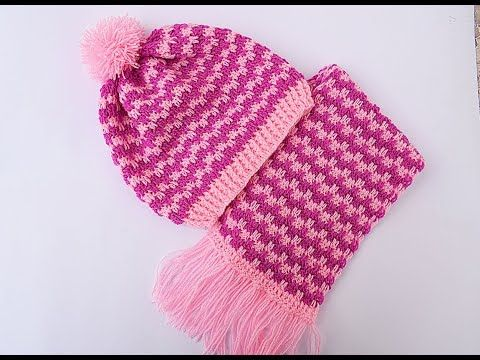 How To Crochet Unisex Houndstooth Slouchy Hat Beanie and Wristers ...