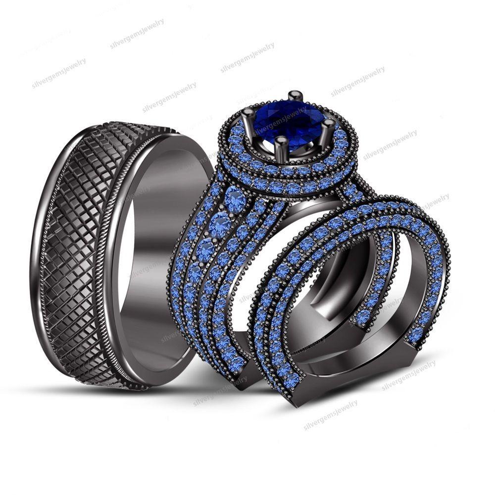 5.62ct Blue Sapphire 3pcs Wedding Ring Trio Set in 14k B/Gold Finish 925 Silver #SolitaireWAccentsWeddingRingSet