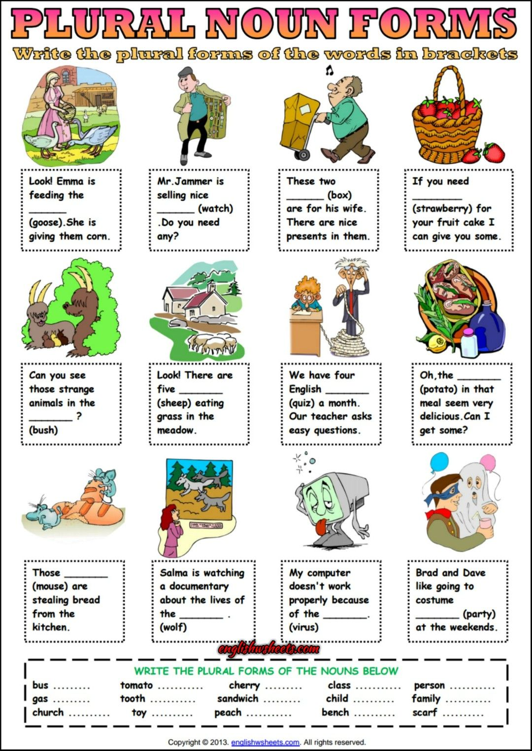 Plural Forms Of Nouns Esl Grammar Exercise Worksheet