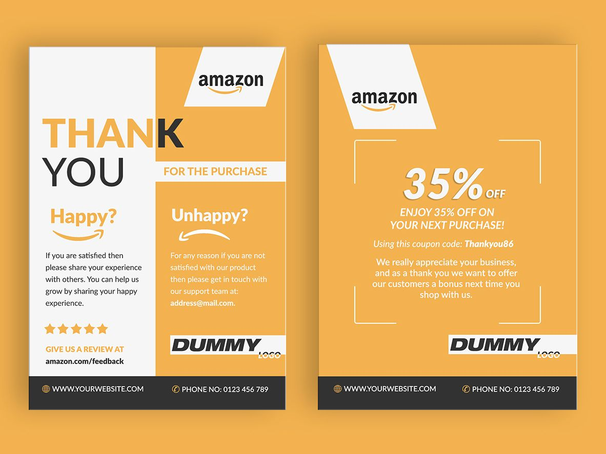 Amazon Thank You Card Product Insert Package Insert Thank You Card Design Card Design Thank You Cards