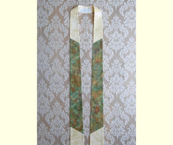 Narrow Cream Off White and Green Clergy Stole  -- Will Ship by June 6