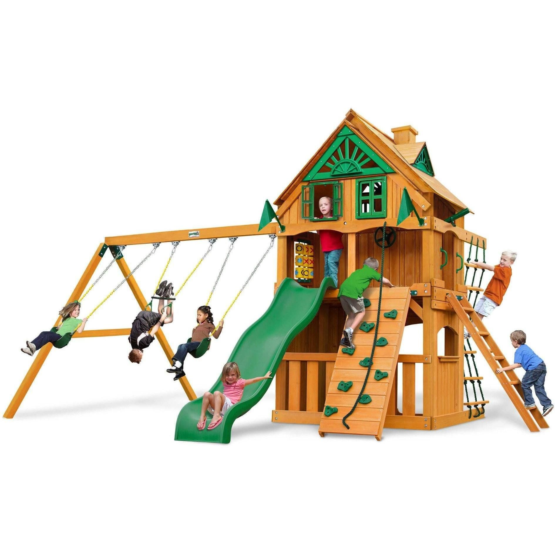 Chateau Clubhouse Swing Set - Optional Treehouse and Fort - Various Roofs #tireswing