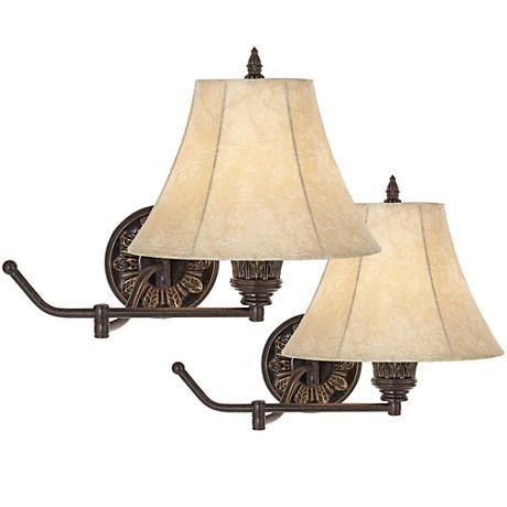 Rosslyn Set Of 2 Bronze Plug In Swing Arm Wall Lamps