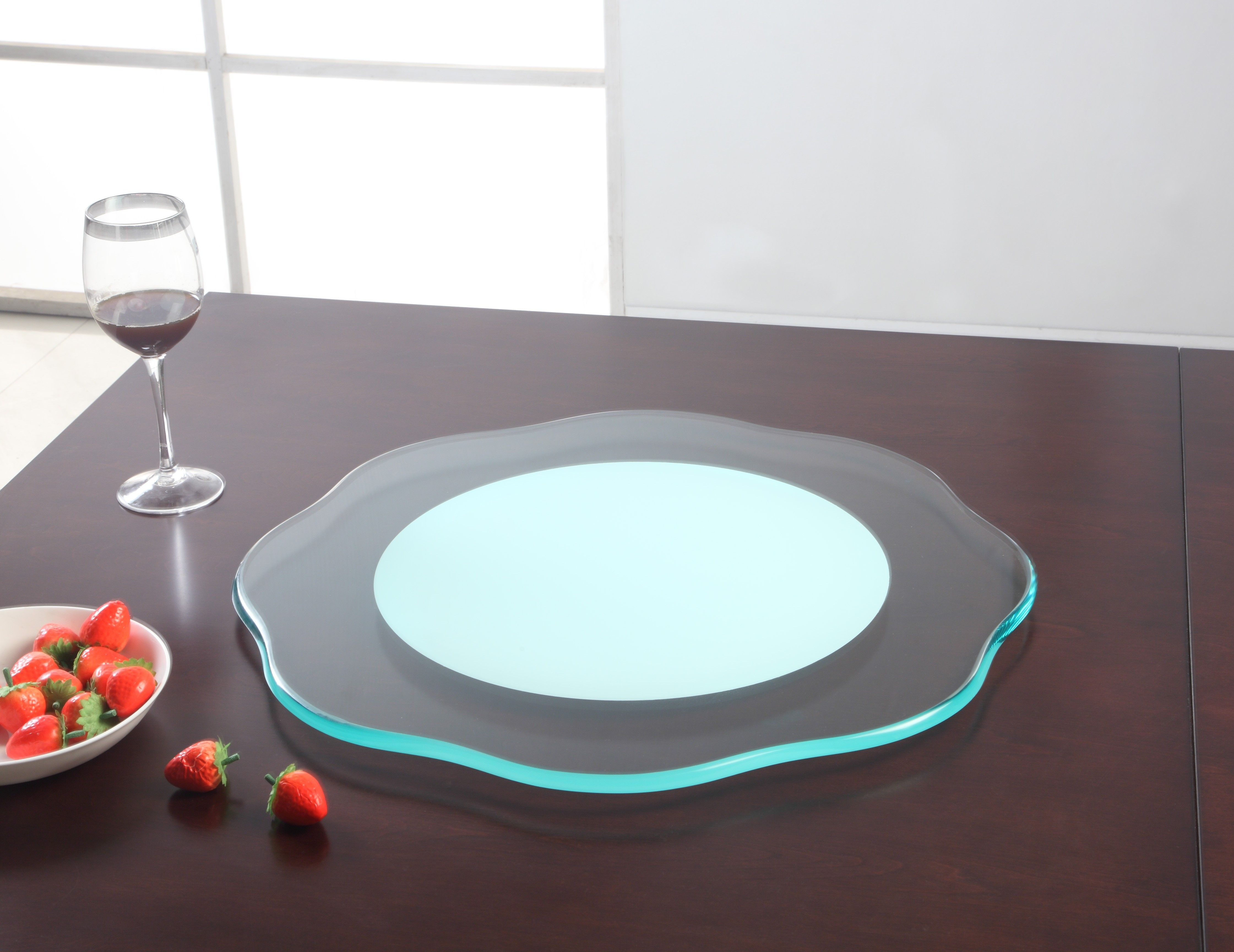 """Flower Shaped 24"""" Round Glass Rotating Tray"""