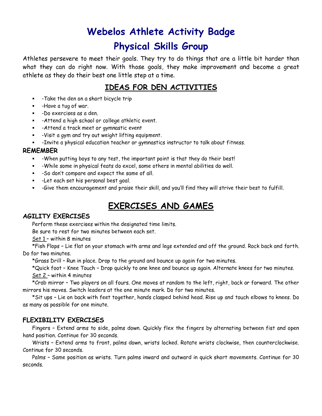 Webelos Fitness Badge Worksheet