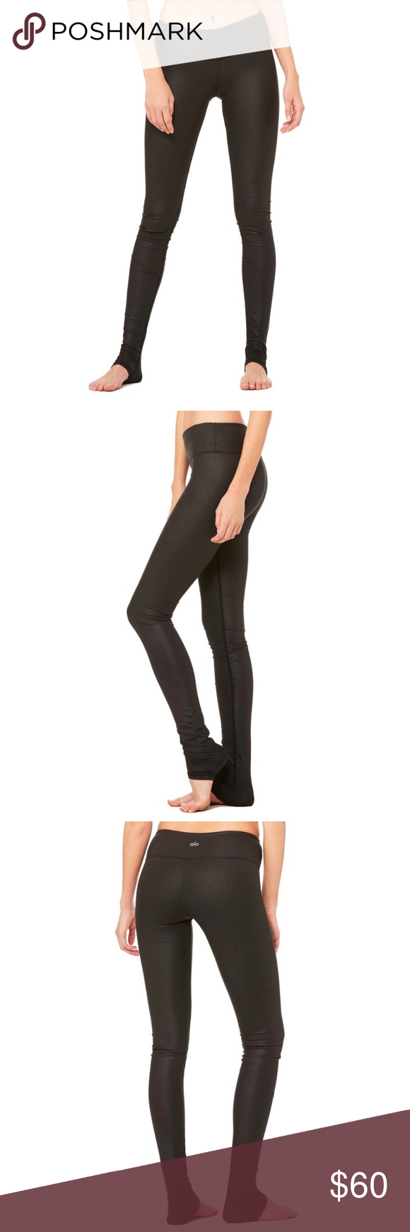 af740c0756a3f ALO Yoga Idol Legging - Black Performance Leather Ruching at the ankle,  compression fabric,