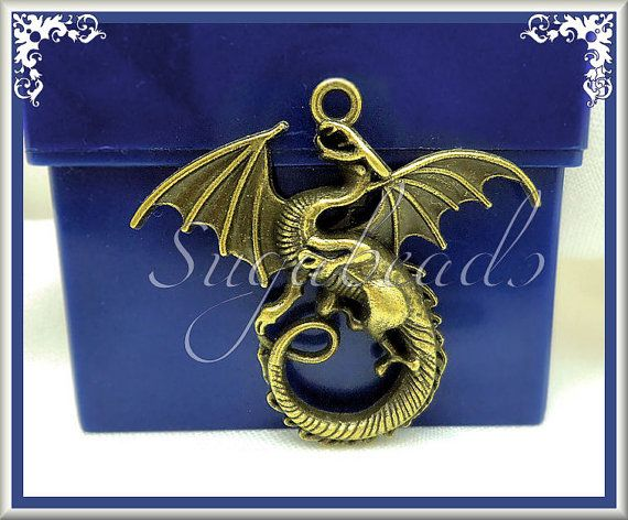 3 Larger Sized Antiqued Brass Dragon Pendants 45mm by sugabeads