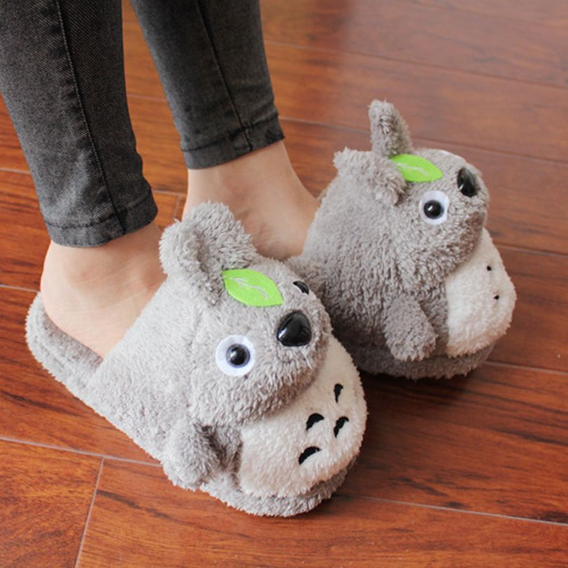 Totoro Plush Slippers With Leaf Pantoufle Femme Women Shoes Woman House Animal Warm Funny