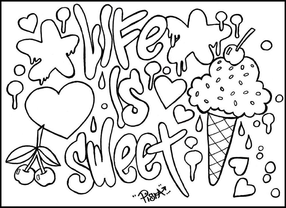 Graffiti Coloring Pages For Teens And Adults Quote Coloring