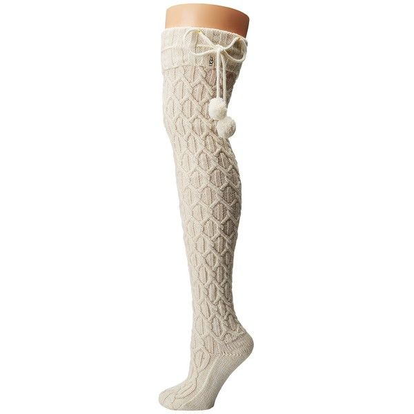 6848d889c UGG Sparkle Cable Knit Socks (Cream Gold) Women s Knee High Socks ( 50) ❤  liked on Polyvore featuring intimates