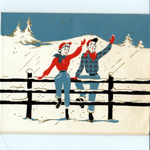 Five Vintage 1950s Western-Themed Christmas Cards | Christmas ...