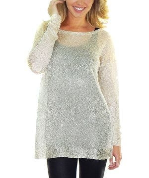 This Beige Sheer Glitter Finish Sweater Dress by Gianni Venini is perfect! #zulilyfinds