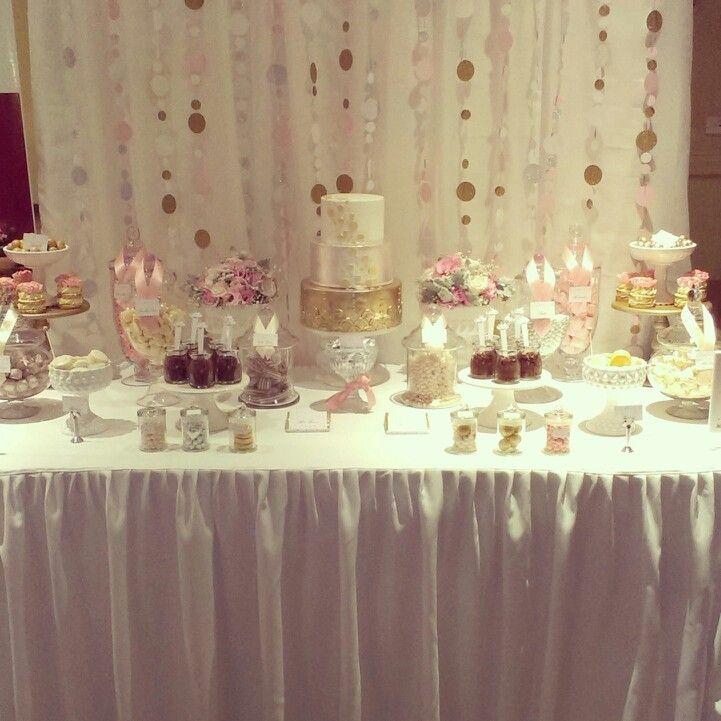 White Wedding Dessert Table: Gold Pink & White Wedding Dessert Table