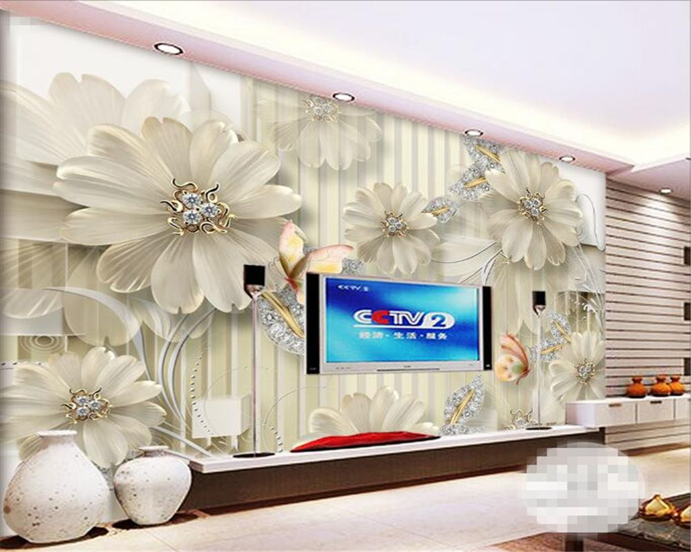 Beibehang 3D Wallpaper Large HD Relief Floral Vertical Striped ...