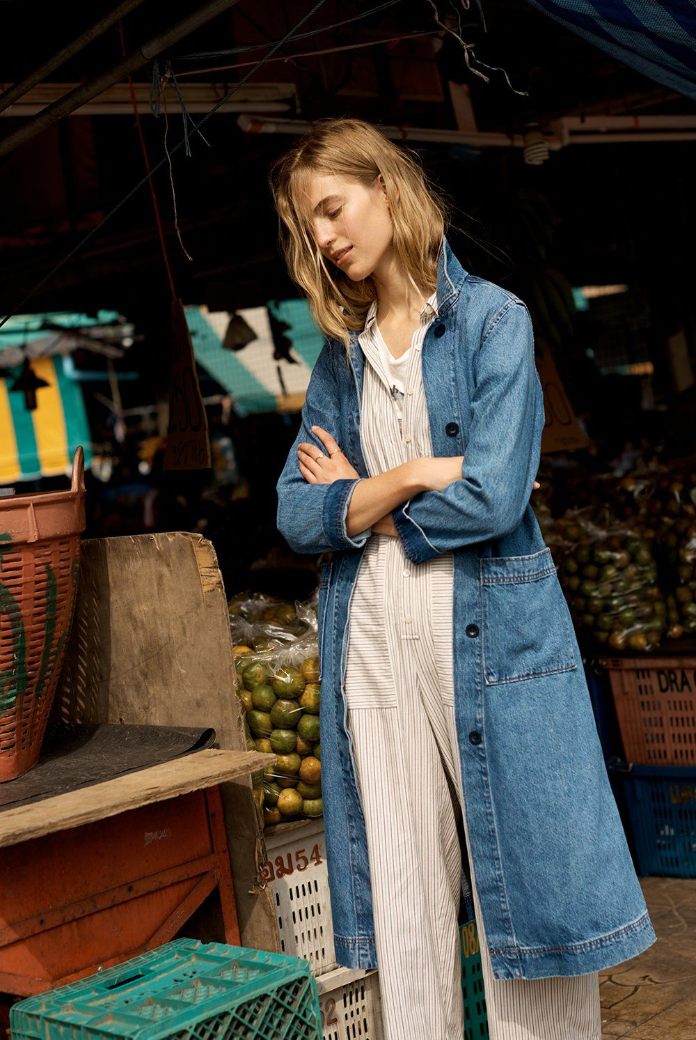 00b6cc847755 madewell denim duster coat worn with striped utility jumpsuit ...