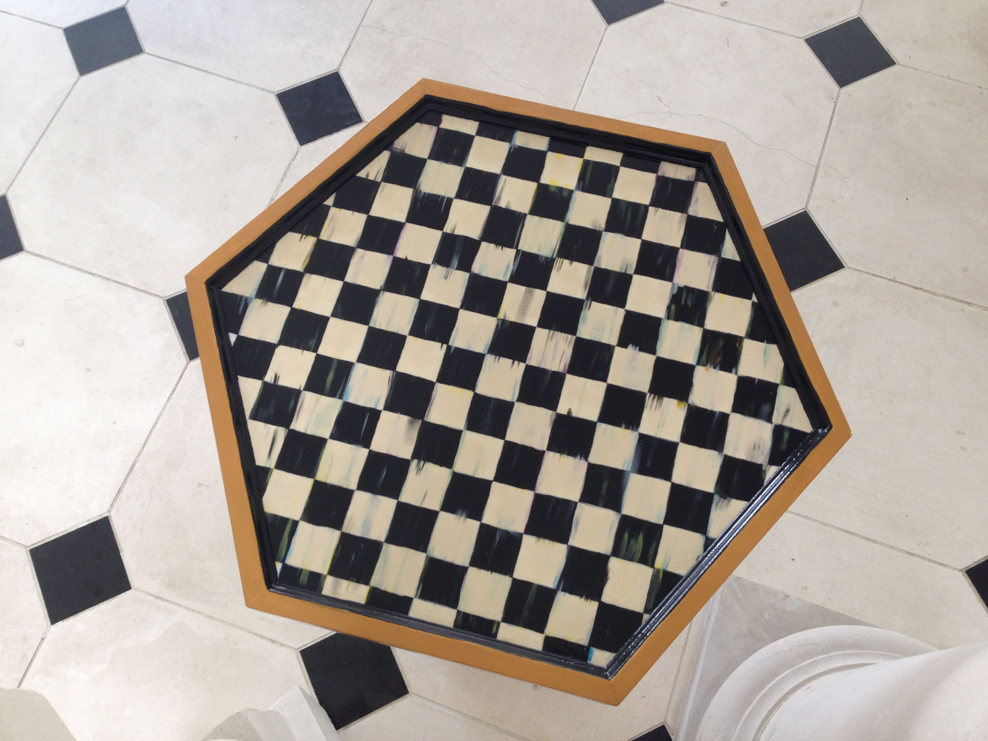 lucia s hp hexagon table top view hand painted furniture painted furniture on kitchen interior top view id=12444