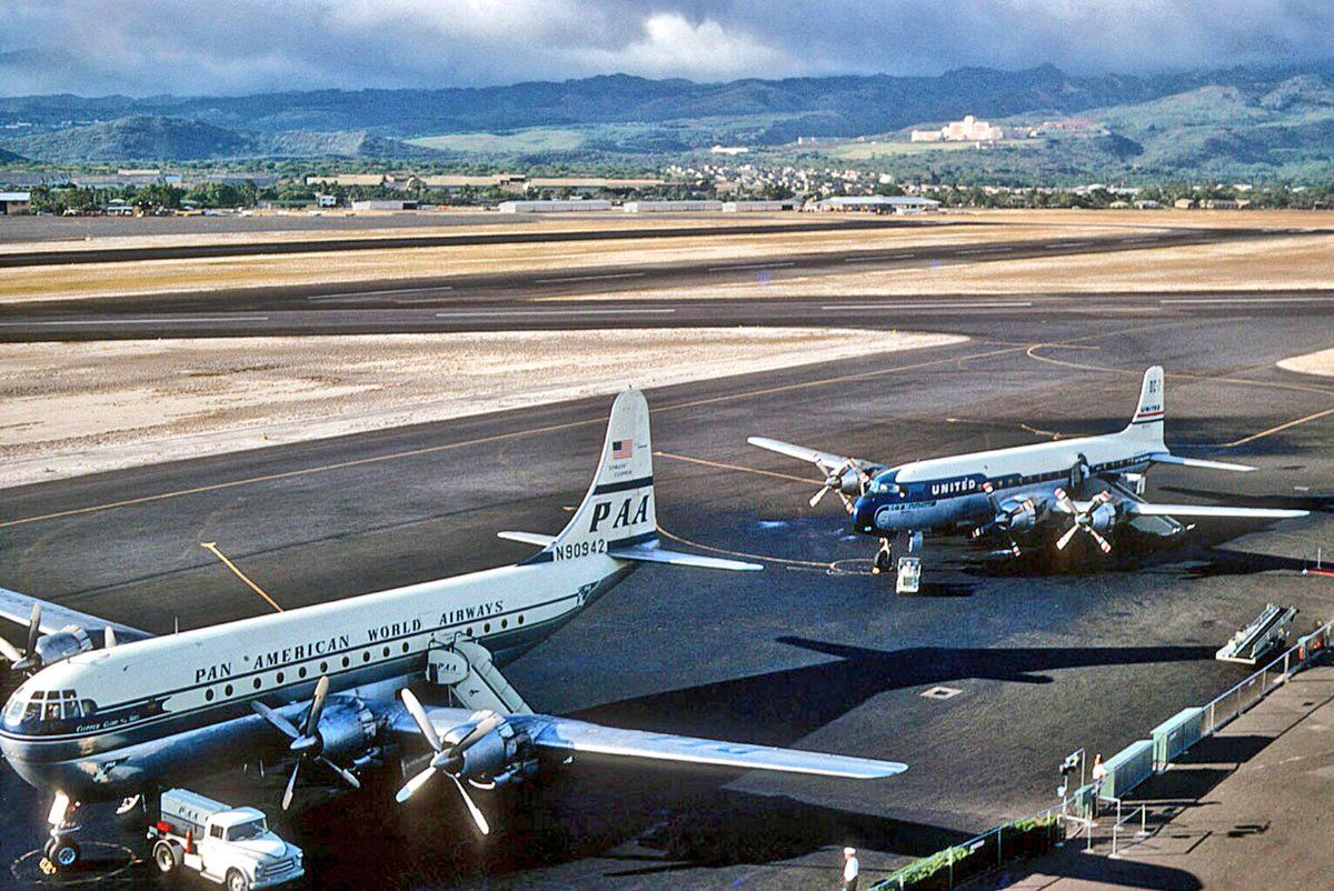 On the ramp at Honolulu in the 1950s  Pan American's Boeing