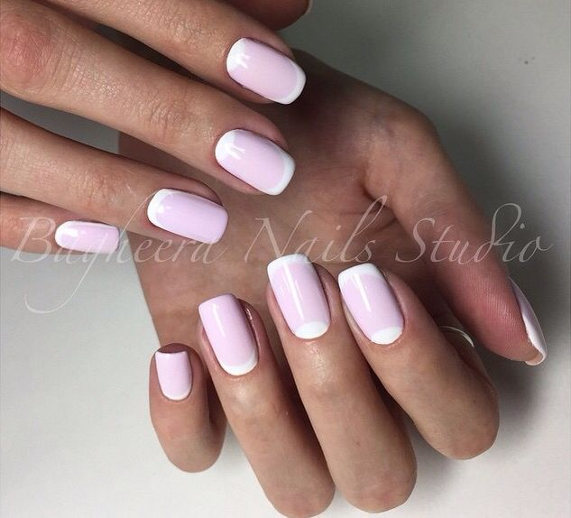 Light pink moon manicure