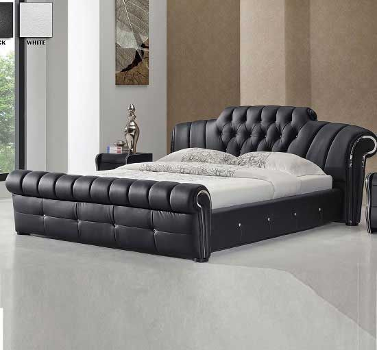 Veronica Chesterfield Style King Bed In Black Bonded Leather Furniture In Fashion Modern Bedroom Furniture Bed Furniture Design Bedroom Bed Design