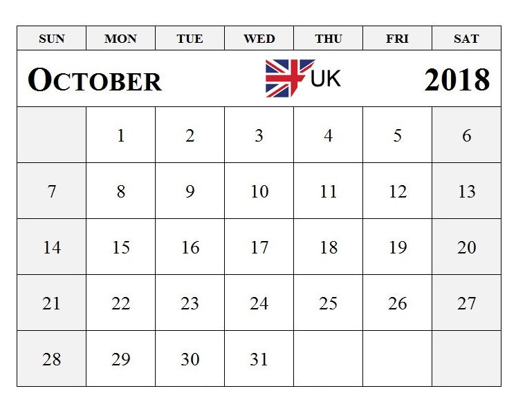 2018 October Calendar UK Calendar for October 2018 Pinterest