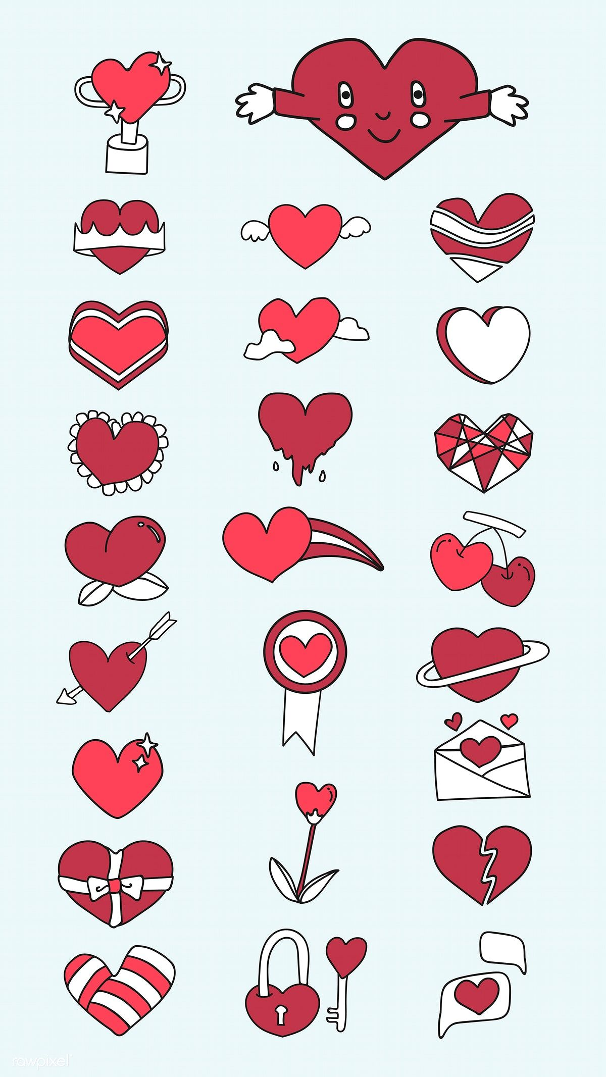 Download premium vector of Red heart design collection