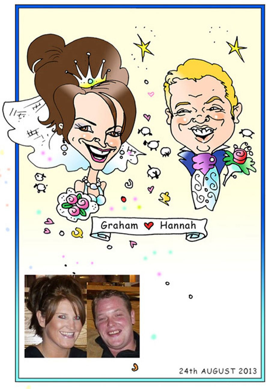 Colour caricature of bride and groom | шарж | Pinterest ...