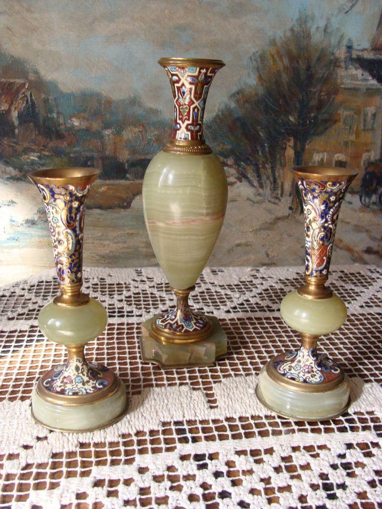 2 Historismus Vasen Bronze Emaille Vertiko Beisteller Jade Champleve Onyx Um1880 Emaille Bronze Vase