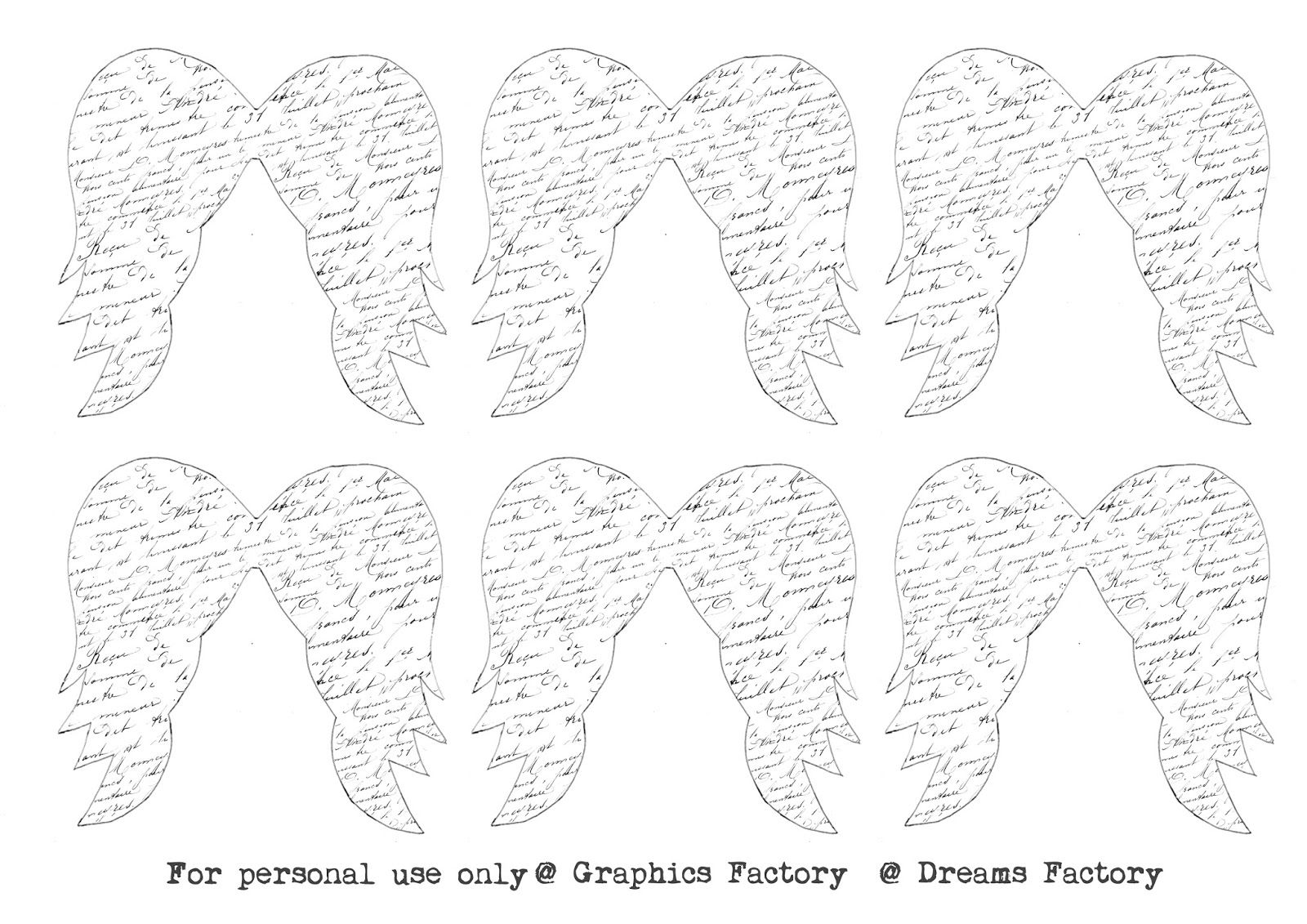 French Script Angel Wings Tags Free Download Dreams Factory Templates Printable Free French Script Diy Angel Wings