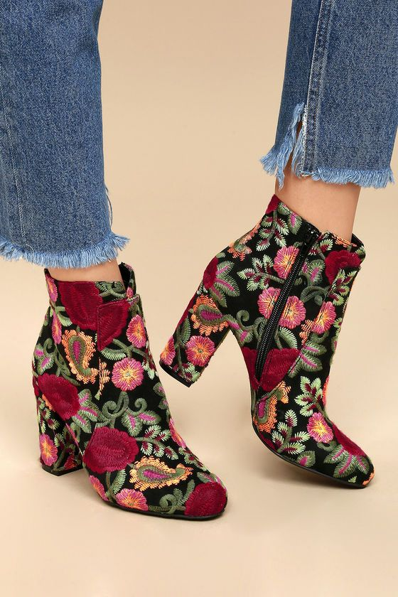 c0584751ade3 Bring your love for floral to all of your favorite  fits with the MIA  Rosebud Black Embroidered Ankle Booties! Orange