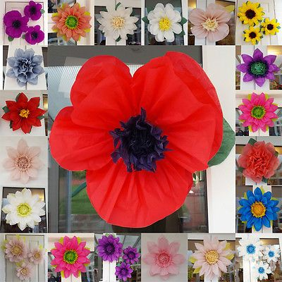 Details About Poppy Pompom Remembrance Day Tissue Paper Flower 45