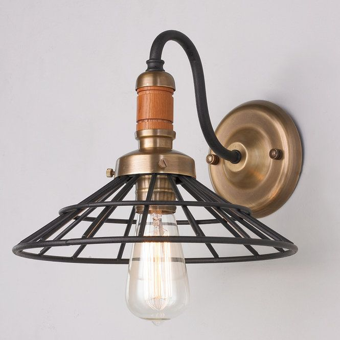 Wood and Metal Caged Wall Sconce vintage_rust