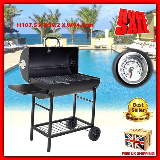 Charcoal BBQ Smoker Grill Outdoor Garden Patio Steel Portable Meat Cooker  High Q