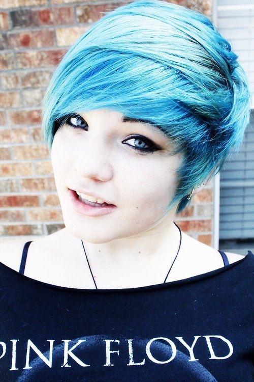 Emo Blue Pixie Cut Hair Blue Pixie Cut Super Cute Pale Skin Hair