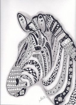Zebra Zentangled Zoo Animal Wildlife Insect Coloring