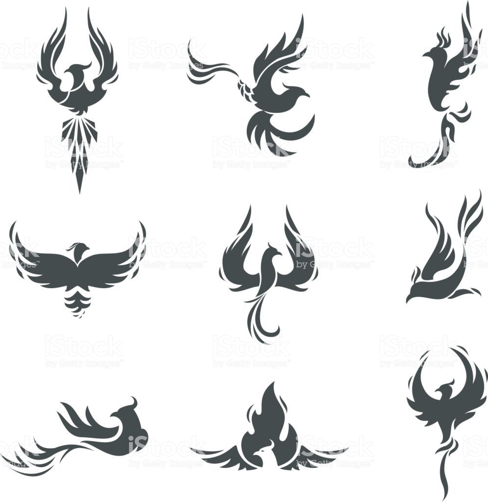Phoenix Bird Stylized Silhouettes Icons On White Background Template Small Phoenix Tattoos Phoenix Tattoo Phoenix Bird Tattoos