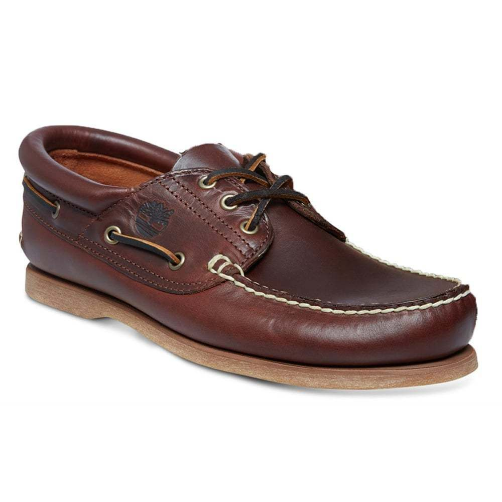 Timberland Men Leather 3 Eye Classic Boat Shoes Brown Casual 10 M USA Red