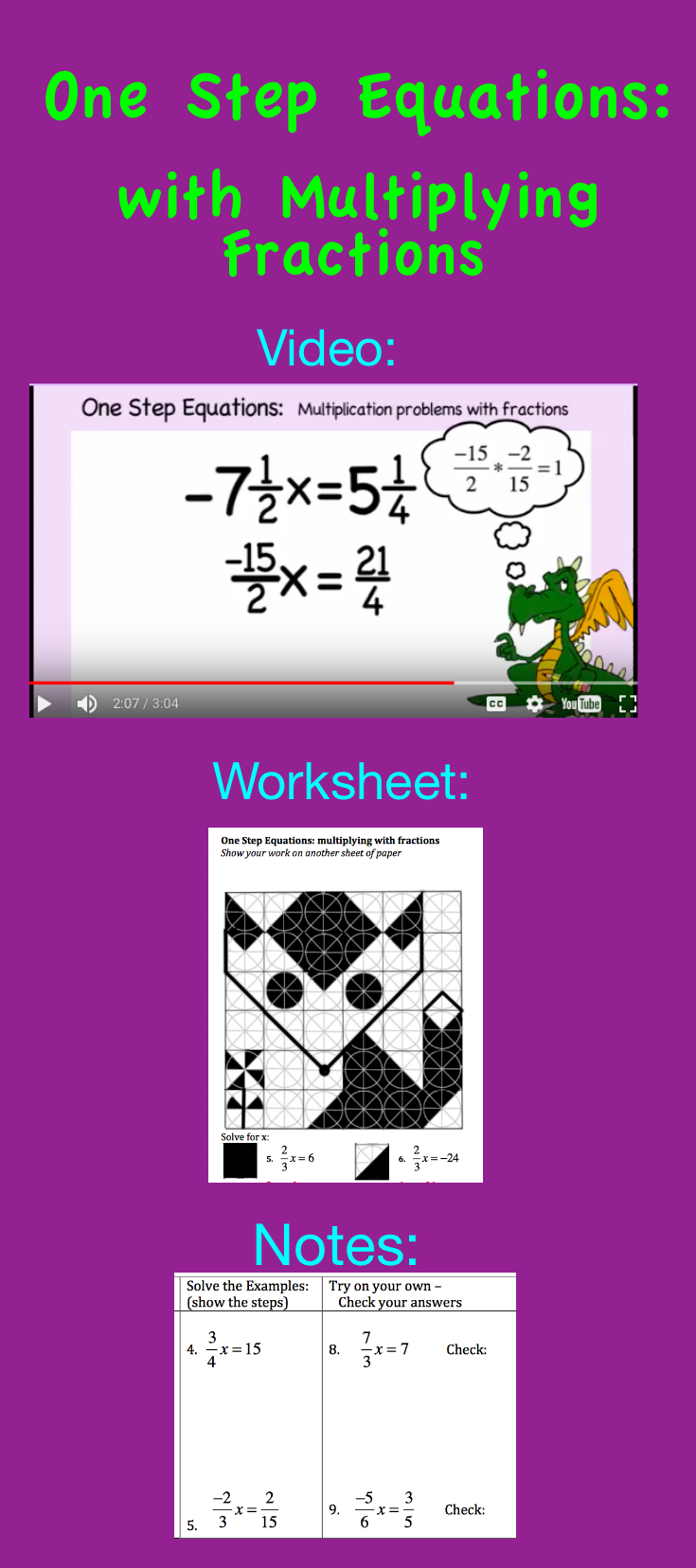 Free Video and worksheet about solving one step equations – Solving Equations Involving Fractions Worksheet