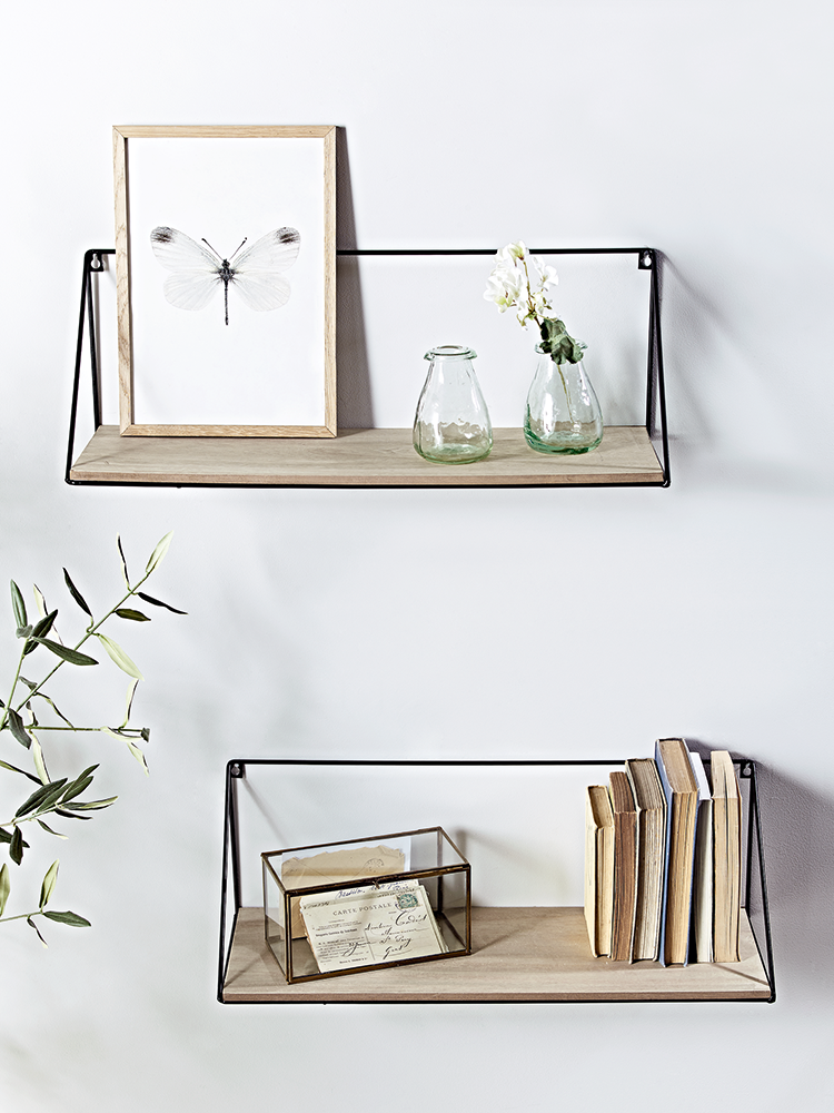 Crafted from rustic pine wood with a black iron frame our for Small glass wall shelf
