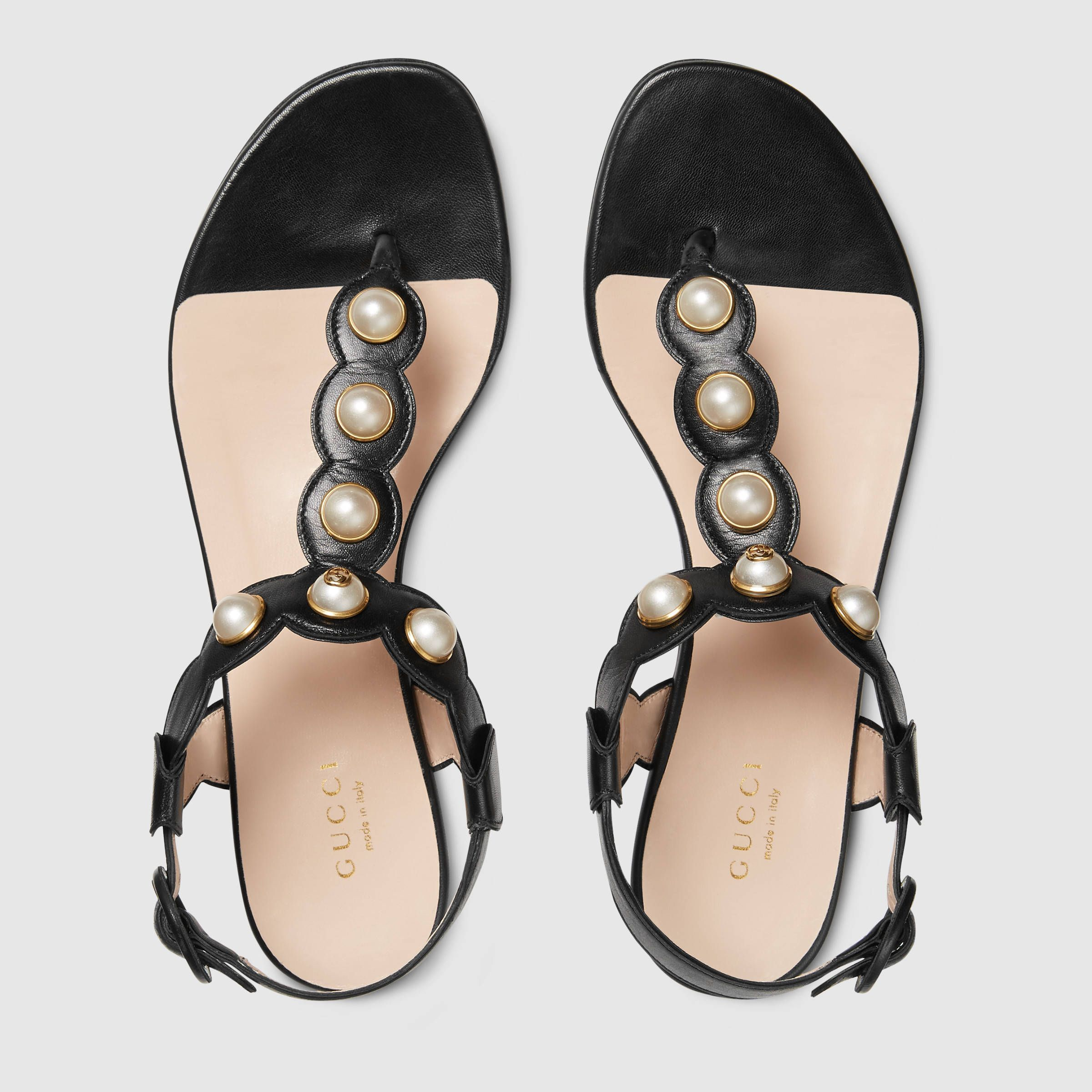 Womens sandals marshalls - Gucci Women Willow Leather Thong Sandal 424085c9d001000 Gucci Pearl Leather Sandals Summer 2016