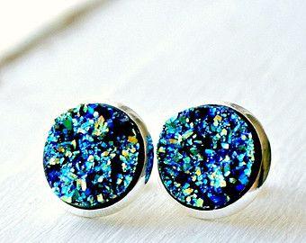 Moon rocks silver plated post faux druzy stud earrings, fake plugs, faux plugs