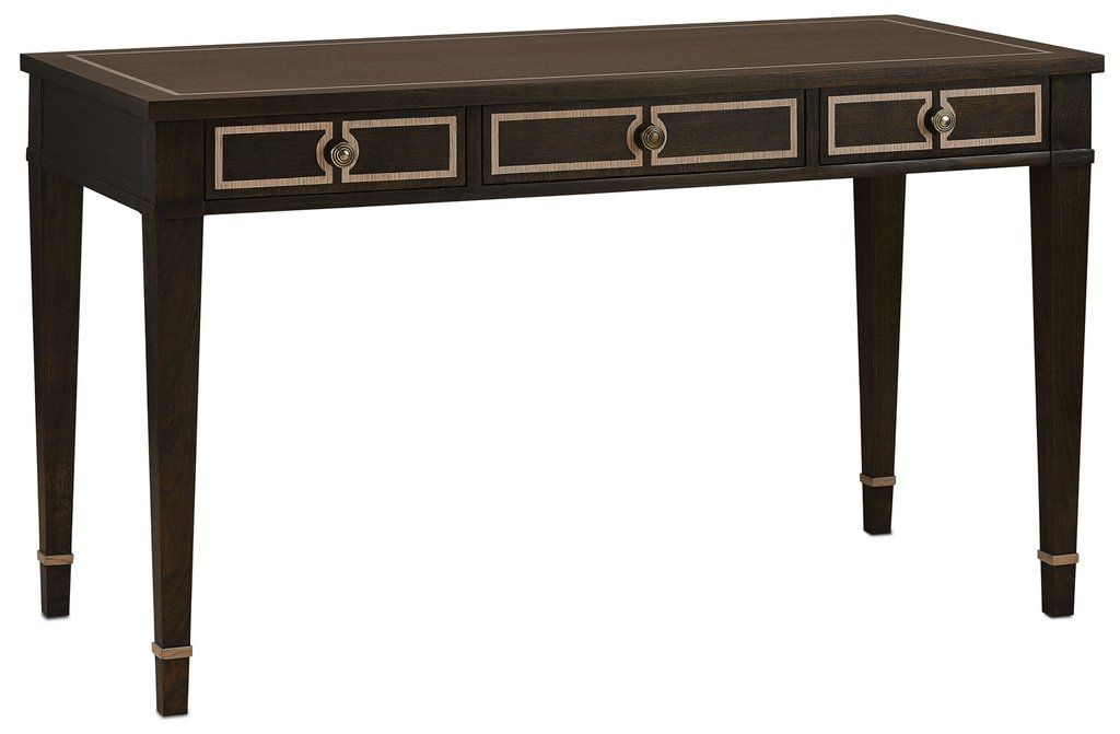 Currey & Company 3000-0005 Belden Desk – Chic Office Decor Stained Walnut and contrasting Ivory Oak inlay turn this functioning desk into a prized possession. The Belden Desk is a graceful yet modern, delicate but strong.  PRODUCT SPECS  PRODUCT NAME: Belden Desk DIMENSIONS: 54w x 24.5d x 31.25h MATERIAL: Wood/Brass FINISH: Walnut/Ivory Oak/Antique Brass