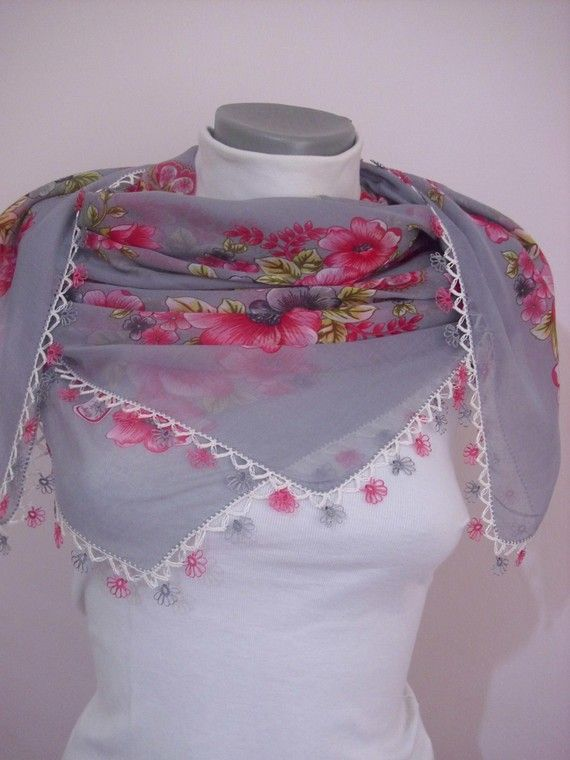 Flower Lace Scarf Pink- Grey HandCrocheted scarves shawl authentic Traditional Turkish LaceWork romantic stole silk summer spring $39  @modelknitting #crochet #knitting #bride #wedding #shawl #bolero #shrug #poncho #fashion #trend #summer #spring # flower # fashion #handmade #lace #gift #home http://www.etsy.com/people/modelknitting