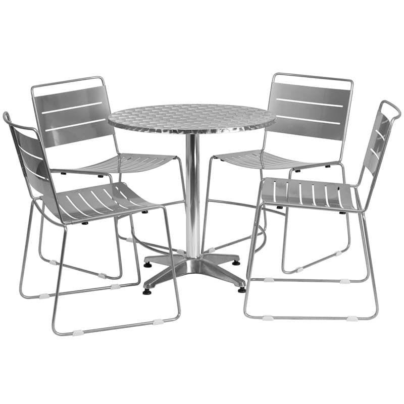 IHome Skovde Round Aluminum IndoorOutdoor Table Set W - Aluminum table and chairs for restaurant