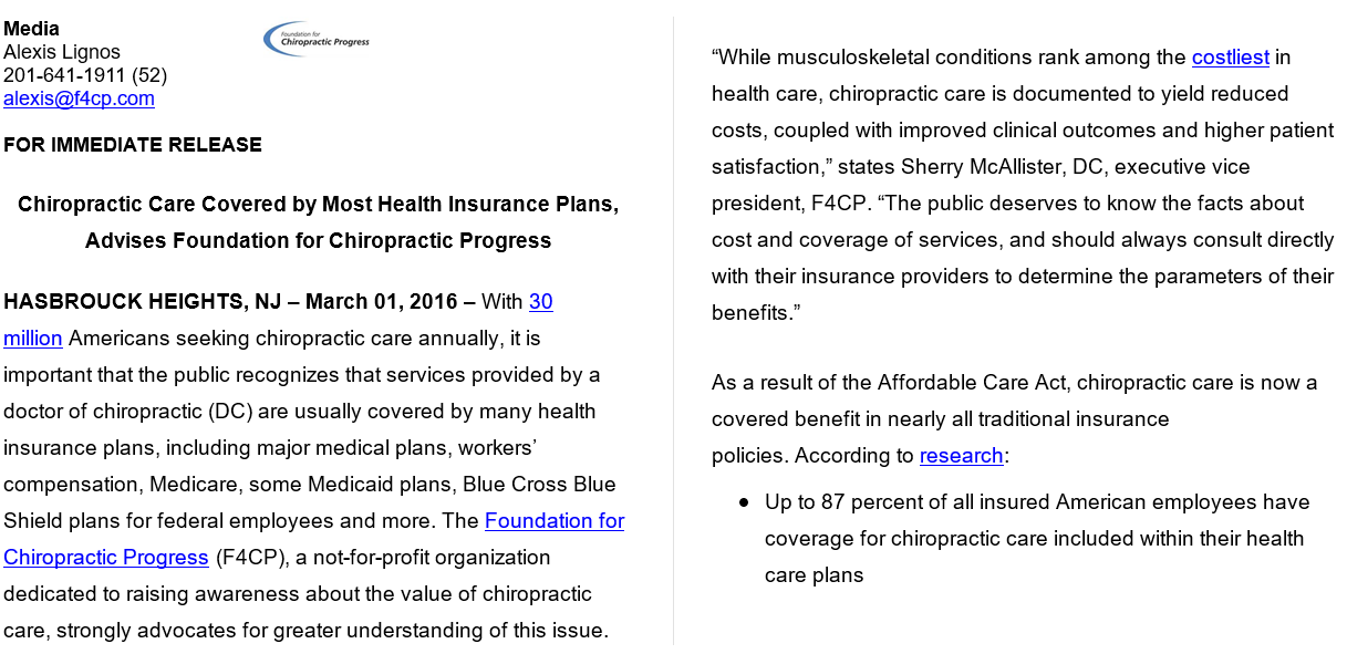 Chiropractic Care Covered By Most Health Insurance Plans Advises