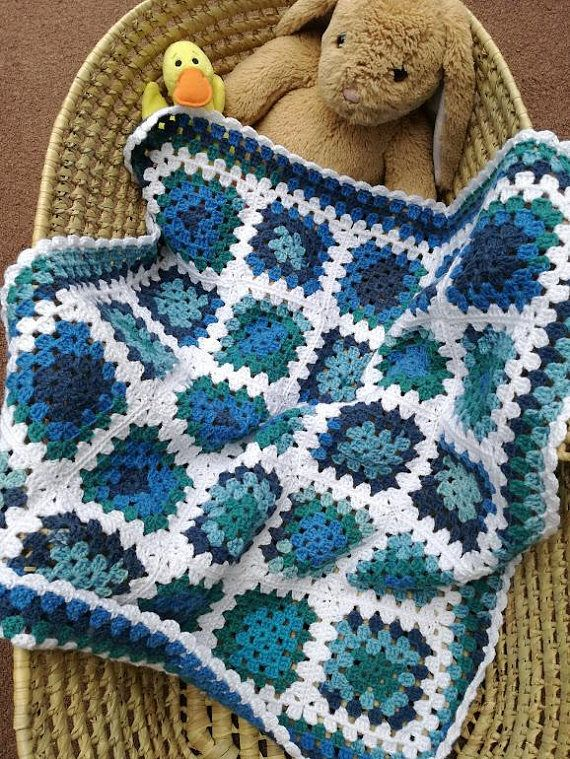 Handmade Baby Blanket, Crocheted Granny Squares, Blues with White ...